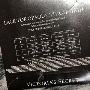 Victoria's Secret Accessories - Lace Top Opaque Stay Up Silicone Thigh High Black